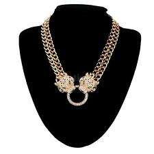 Leopard Tiger Head Pendant Chain Necklace Crystal Gold Men Womens Animal Jewelry