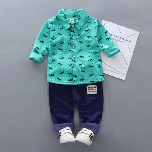 Toddler Kids Baby Boy Gentleman Tops Shirt Denim Pants Outfits Set Clothes 6M-5Y
