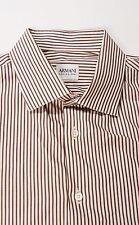 Armani Shirt 42 16 1/2 16.5 Large Men's Off White Brown Striped French Cuffs