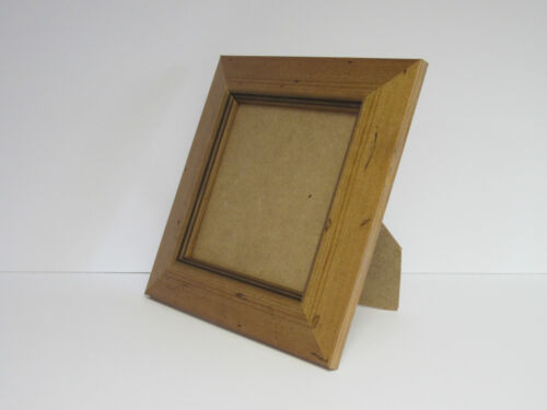 Antique Pine Real Wooden 5x5 Square Picture Photo Frame Hang Stand