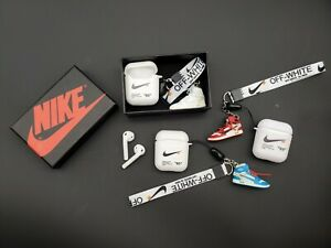 Off White Inspired Airpods Silicone Soft Case With 3d Mini Sneakers W Lanyard Ebay