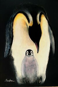 Emperor-Penguin-amp-Chick-Poster-Painting-Cute-Bird-Wall-Art-Wildlife-12X18
