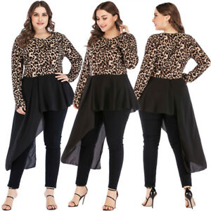 Details about Womens Plus Size Tops Party Clothing Clubwear Leopard  Irregular Dresses T Shirt