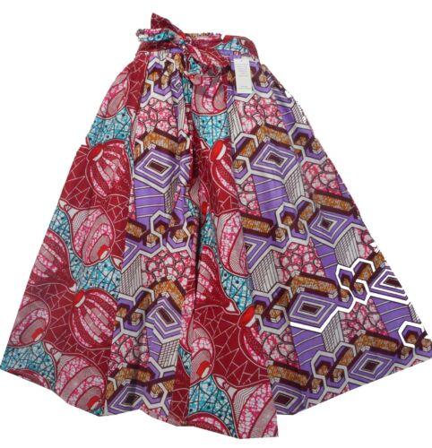 African Wax Print Ankara Skirt Long Maxi Dashiki Elastic Waist Belt Plus Size