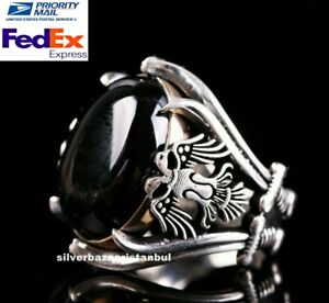 Heavy-Eagle-Turkish-925-Sterling-Silver-black-onyx-stone-mens-ring-ALL-S-ZE-us