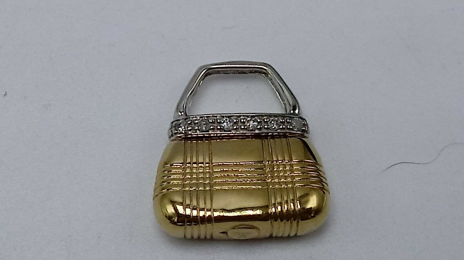10K Yellow gold Handbag Slider Pendant with Diamonds 1.7g
