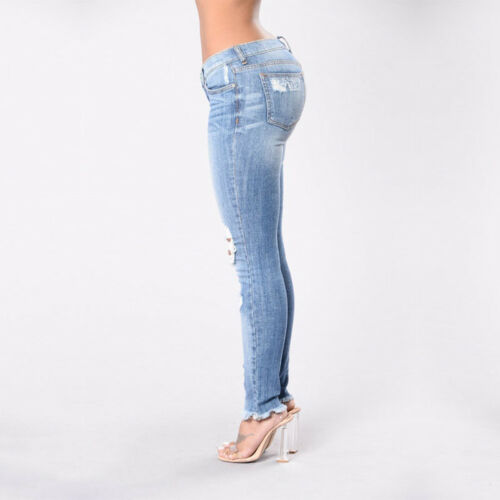 EG/_ Fashion Women Casual Ripped Jeans Elasticity Stretch Trousers Skinny Pants C