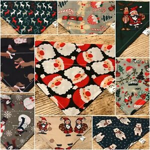 Handmade-CHRISTMAS-DOG-BANDANA-REVERSIBLE-SLOT-TOP-Neckerchief-PRESENTS