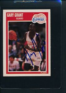 1989/90 Fleer #70 Gary Grant LA Clippers Signed Auto *54081