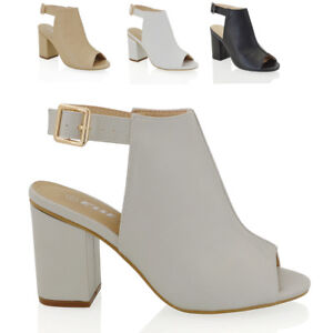 Womens-Peep-Toe-Sandals-Mid-Block-Heel-Ladies-Open-Back-Strap-Ankle-Shoes-Size