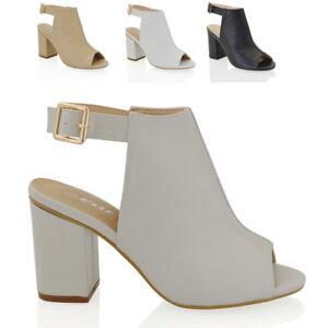 Womens Peep Toe Sandals Mid Block Heel