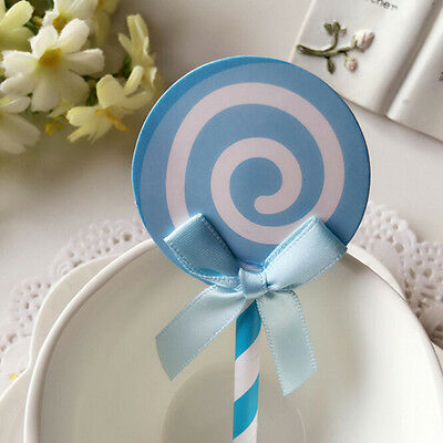 6X Lollipop Cake Cupcake Topper Shower Party Picks Birthday Cake Decor 12.5cm WB