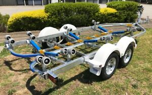 Precision-Boat-Trailer-Drive-On-Galvanised-6-5mt-TANDEM-Soft-Poly-Upgrade