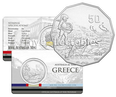 2015 Australia At War GREECE 50 Cent Coin