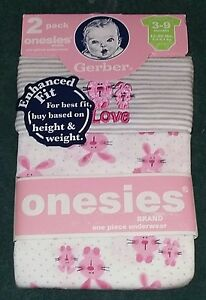 NEW-Gerber-2-Pack-of-3-9-Months-Baby-Girl-Onesies-Bunnies-Easter