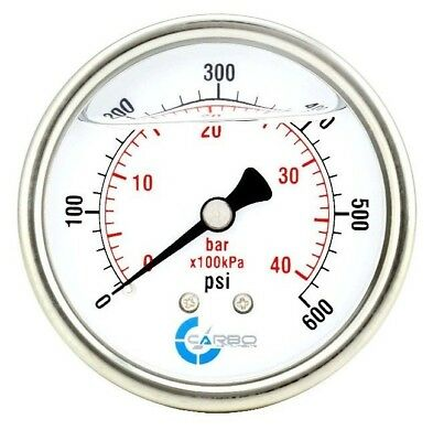 """Hydraulics, Pneumatics, Pumps & Plumbing Reliable 2.5"""" Liquid Filled Pressure Gauge 0-600 Psi Stainless Steel Case Back Mount Warm And Windproof Other Hydraulics & Pneumatics"""