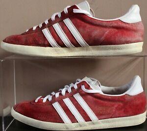 Adidas-Gazelle-OG-Suede-2013-Dentelle-Baskets-Taille-UK-10-Rouge-Fonce-amp-Blanc-Homme