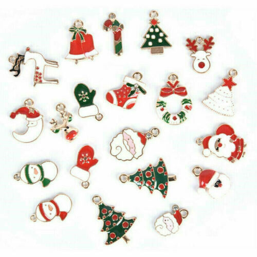 30//38PCS Christmas Charms Pendant Enamel Alloy Mixed Jewelry DIY Making Crafts