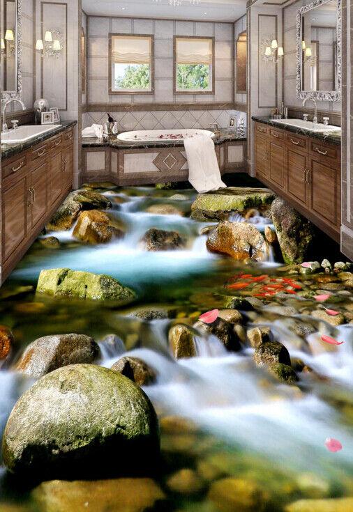3D Petal Creek Stone 456 Floor WallPaper Murals Wall Print Decal AJ WALLPAPER