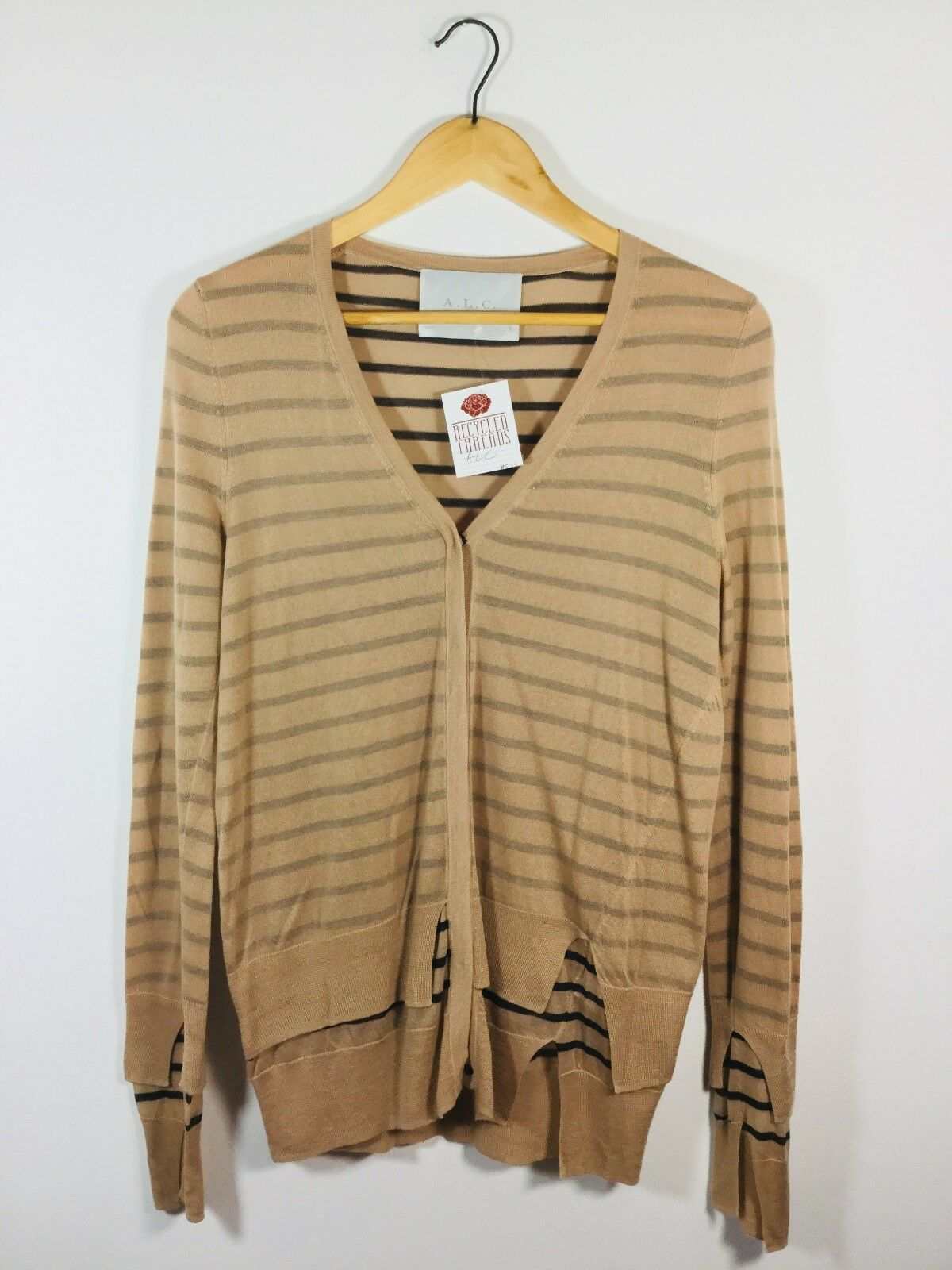 A.L.C. Tan Striped Size Small Long Sleeve Cashmere Cardigan Sweater