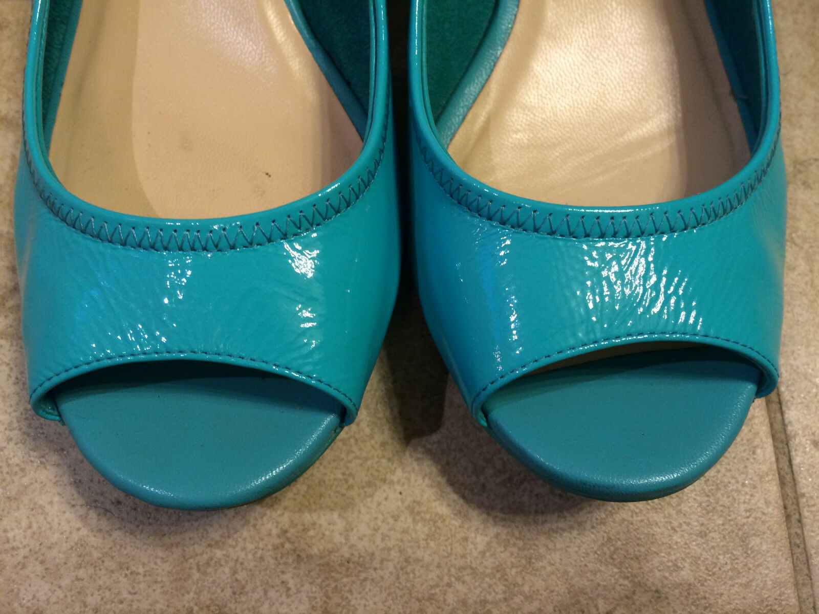 Cole Haan Blau Poolside Patent Leder Small Wedge Schuhes 7B 7B Schuhes Pre-Own 44bfcf