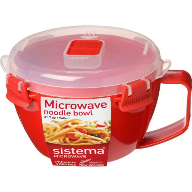 Sistema Microwave Noodle Bowl Lunch, 940ml, BPA Free Dishwasher Safe - Red/Clear