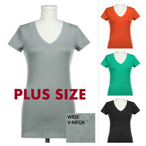 785de5e606949 Plus Size Women V-Neck Short Sleeve T- Shirts Top Solid Cotton Wide ...