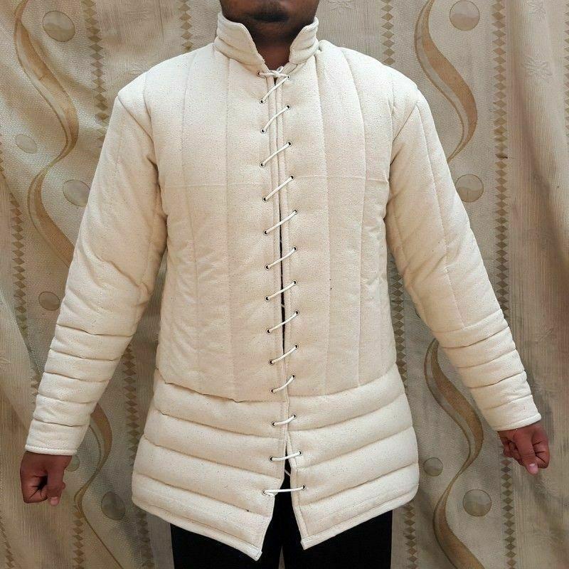 Medieval thick padded White Gambeson coat Aketon Jacket Armor reenactment SCA