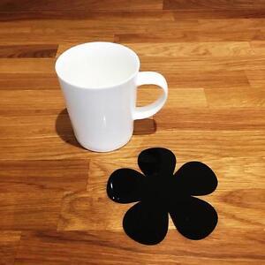 """Daisy En Forme De Brillant Noir Acrylique Coasters, Ensembles De 4, 6 Ou 8, 11 Cm 4""""-afficher Le Titre D'origine"""