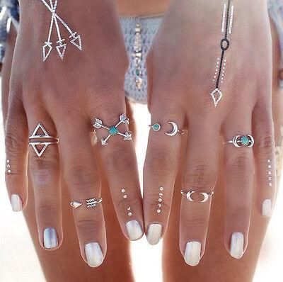 6 Pcs Turquoise Arrow Moon Statement Midi Rings Set Women Jewelry Fashion 3085