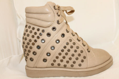 Street Style Wedge Sneakers High-Top Fashion Trainers Taupe Studded Womens Shoes