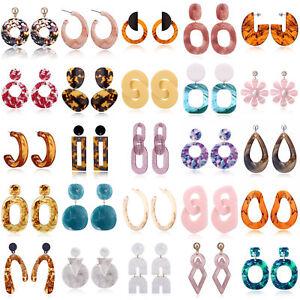 Lots-Acrylic-Geometric-Hoop-Earrings-Resin-Dangle-Drop-Stud-Jewelry-Party-Gift