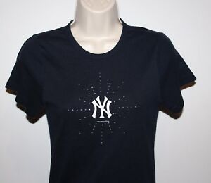 new product 0cbc7 a495a Details about New York Yankees Campus Lifestyle Women's Medium Blue Bling  Shirt