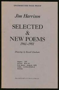 Details About Jim Harrison Selected New Poems 1961 1981 Uncorrected Proof 1st 1982