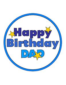 Happy Birthday DAD 7.5 PREMIUM Edible ICING Cake Topper HAPPY BIRTHDAY DADDY D1