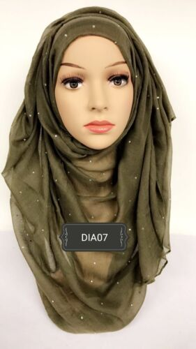 Hijab print head scarf maxi chiffon jersey crimp cotton viscose diamanté DIA07