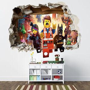 Image Is Loading LEGO MOVIE SMASHED WALL STICKER BEDROOM BOYS GIRLS