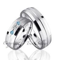 2 Silber 925  Trauringe mit echten Blautopas und echten Diamant & Gravur J53-3BD