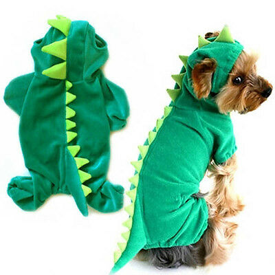 Dog Pet Halloween Dinosaur Costume XS - XL Pet Dogs Green Coat Outfits Jumper