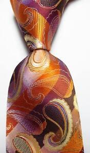 New-Classic-Paisley-Gold-Brown-Beige-JACQUARD-WOVEN-100-Silk-Mens-Tie-Necktie