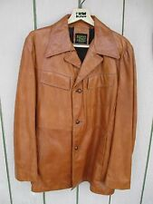 Vintage mod 70s Classic Leather Blazer JACKET Mens 44 L brown LEOPOLD PRICE & RO