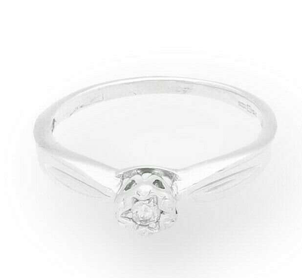 9Carat White gold 0.05ct Illusion Set Solitaire Diamond Ring (Size L) 4mm Wide
