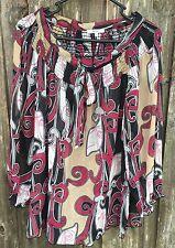 Women's Plus Size Sheer Peasant Top Blouse Swirls Casual XL 1X Nicola