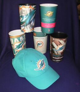 Miami Dolphins hat New Era 9twenty NFL Licensed cap + 5 souvenir 28oz cups Lot