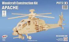 Kit de Construcción de Woodcraft Apache-helicóptero 3D De Madera Modelo Puzzle Niños Adultos