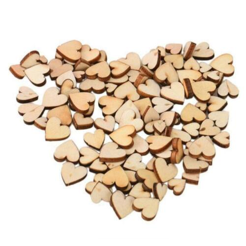 200pcs Rustic Wood Wooden Love Heart Wedding Table C Decoration DIY Scatter E6E3
