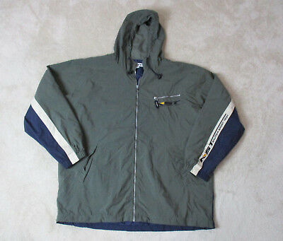VINTAGE Nautica Jacket Adult Small Blue Green Spell Out Fleece Mens 90s