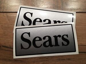 Sears-Silver-amp-Black-Decal-For-Attachment-To-Craftsman-Tractors-1970-039-s-2-034-x4-034-pair