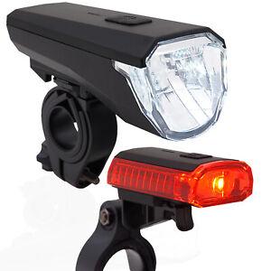 LED-Akku-Fahrrad-Beleuchtung-Set-45-LUX-Licht-StVZO-Scheinwerfer-Ruecklicht-Lampe
