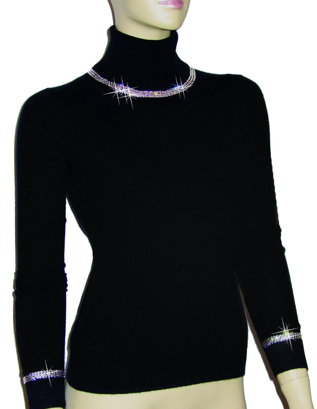 Luxe Oh ` Dor 100% Cashmere collo Alto Pullover Nero Nero Nero Lusso 38 40 S M 013850